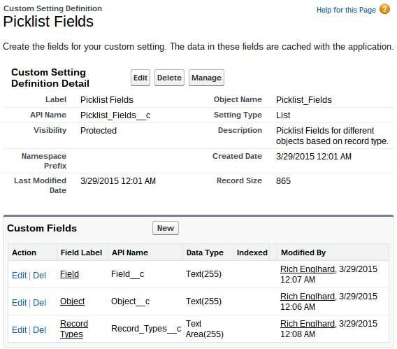 Custom Settings Picklist Fields Settings Page With Custom Fields