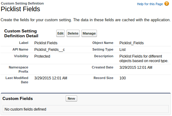 Custom Settings Picklist Fields Settings Page
