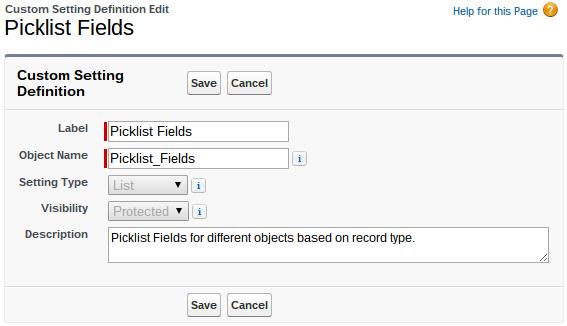 Custom Settings Picklist Fields Settings