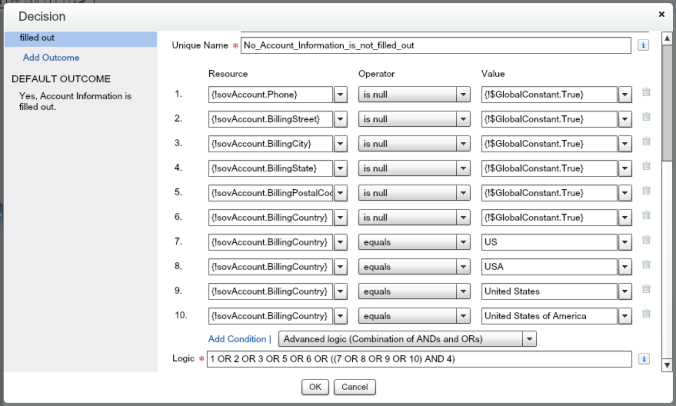 Quote Entry Flow Decision Account Element With Condition Logic