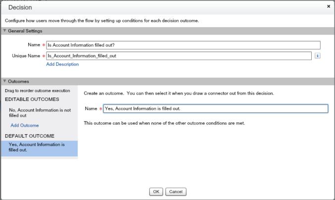 Quote Entry Flow Decision Account Information element Default Outcome