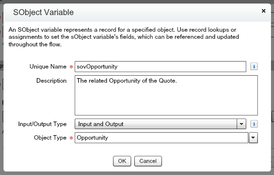 Quote Entry Flow sObject Variable Opportunity