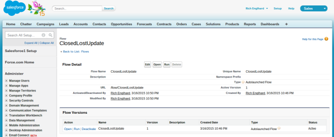 Salesforce-Flow-Setup-Page