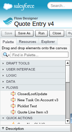 Quote Entry Palette Flows Section