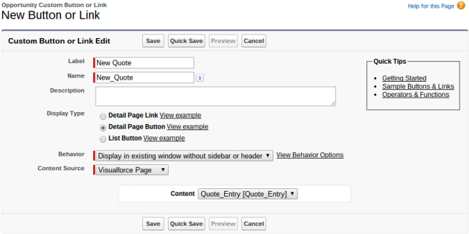 Quote Entry Flow Visualforce Page Button