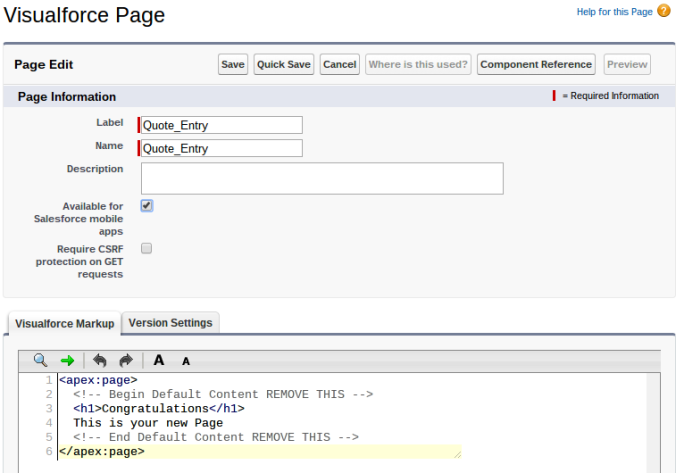 Quote Entry Visualforce Page Start