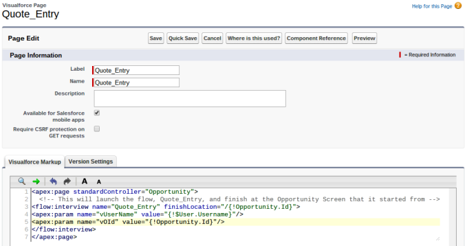 Quote Entry Visualforce Page With Ending Flow Interview