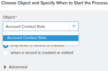 Add Object Account Contact Role Salesforce Process Builder