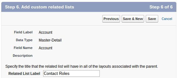 Master Detail Related List Setting Salesforce