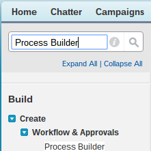 Process Builder Search Bar Setup Salesforce