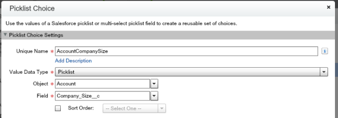 Account Company Size Picklist Choice Flow Screen