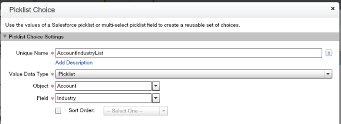 Account Industry Picklist Choice Screen