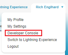 Select Developer Console