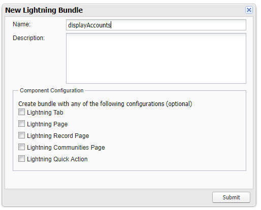 Display Accounts Lightning Component Create