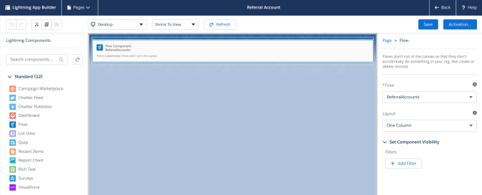 Salesforce Lightning Page with Flow Component